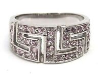 Sterling Silver Ring Pink Ice Tapered Maze Style Size 7 New