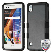 For LG X STYLE LS676 Tribute HD Black TUFF Hybrid Case Cover