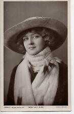70254 Orig 1905 RPPC PC British TheatreActress Miss Lily Elsie w saucy hat & fur