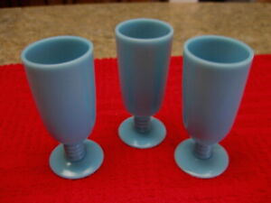 """ANTIQUE (3) FRENCH BLUE OPALINE PORTIEUX VALLERYSTHAL GLASS MINI CORDIALS 3"""""""