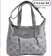 COACH Ashley Gray North South Dotted Op Art Shoulder Satchel Handbag 20068