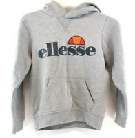 ELLESSE Boys Hoodie Jumper 8-9 Years Grey Cotton & Polyester