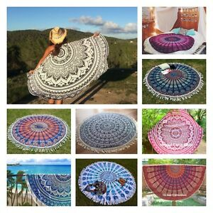 Indian Mandala Round Beach Tapestry Hippie Throw Yoga Mat Indian Roundie