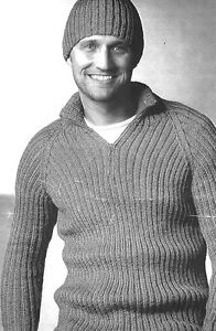 "R355 Mens DK Ribbed Sweater & Beanie HatVintage Knitting Pattern 38-50"" 97-127cm"