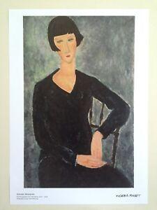 "MODIGLIANI LITHO PRINT MODERNA MUSEET POSTER ""WOMAN SITTING IN BLUE DRESS"" 1917"