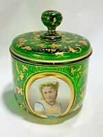 Antique Rare Moser Czech Bohemian Enamel Glass Portrait Medallion  Covered Jar