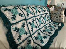 Crocheted Aqua Blue Rose Afghan Throw -  Made Fresh After Sale - 25 Squares