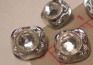 "3 Czech Vintage Silver Square Metal Shank Button RhinestoneCenter 5/8"" 16mm #149"