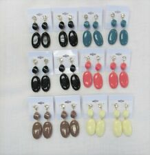 Wholesale Jewelry Lot 12 Pairs Dangle Earrings Assorted #04 Spring Summer Colors
