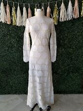 Vtg Jean Louis Lace Ivory Maxi Dress Wedding Embroidered Crochet RARE Small S