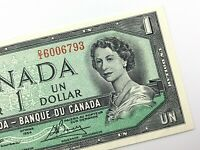 1954 Canada One 1 Dollar Uncirculated DI Prefix Lawson Bouey Banknote R701