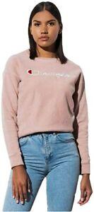 Champion Spellout Script Logo Pullover Crewneck Sweatshirt WL265G L Tinted Tan #