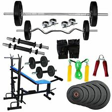 Fitfly Budgeted Home Gym 50kg Weight 8 IN 1 bench 3ft Curl 5ft Plain Rods