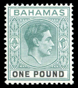Bahamas 1938 KGVI £1 blue-green & black superb MNH. SG 157a. Sc 113.