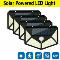 100 LED Solar Powered PIR Motion Sensor Wall Lights Outdoor Garden Security Lamp
