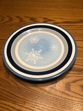 "One St. Nicholas Square WINTER FROST 8.75"" Salad Plate Blue White Snowflakes"