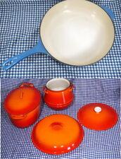 6pc DESCOWARE Dutch Oven Stock Bean Pot Lids Orange & LE CREUSET Enameled Blue