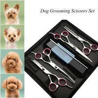"6X Professional 7"" Pet Grooming Scissors Dog Hair Cutting Curved Shears Tool AU"