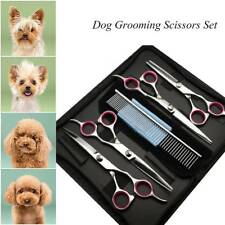 """6x 7"""" Professional Pet Grooming Scissors Dog Hair Cutting Set Curved Tool Shears"""