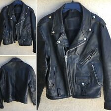 Vintage Black Leather Motorcycle Jacket Thrashed Worn Punk Rocker Biker