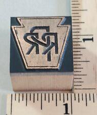 Vintage Copper Amp Wood Letterpress Print Block Stamp Prr Penna Rail Road Pb24