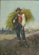 Superb Antique Italian Watercolor of Man w/ Hay by G. Forfanati  c. 1890