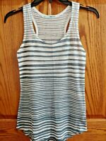 MAURICES Size Small S Tank Top Sleeveless Striped Gray White Racer Back Thin