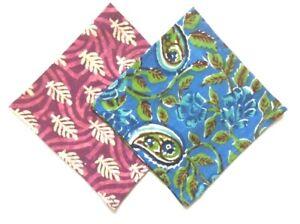 "Set of 2 Block Print & Floral Cotton Pocket Square Handkerchief Pink Blue 13"""