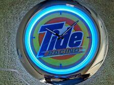 "Tide Racing NASCAR Neon Wall Clock 16"" Man Cave Bar Sign Collectible New Open"