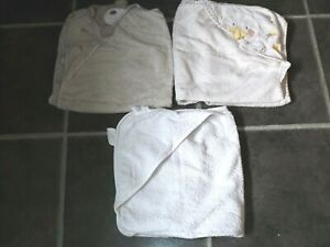 3 baby animal hooded bath towels VGC The white company & Babies R Us
