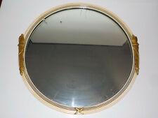 "Vintage Art Deco 26"" Round Glass Gold Gesso Wall Mirror Antique Torches"