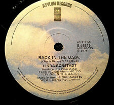 LINDA RONSTADT 45RPM BACK IN THE USA  MADE IN AUSTRALIA 1978
