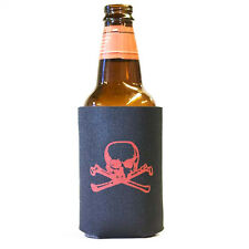 Red Skull and Bones Pirate Beer Pop Can Koozie Koolie Cooler Insulator
