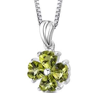 2 CT Heart Green Peridot  Sterling Silver Pendant