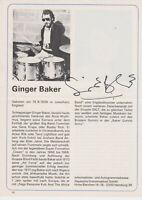 Ginger Baker 1939-2019 CREAM 60's legend Drummer orign sign. 13x18