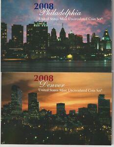 2008 P&D U.S. Mint Uncirculated Coin Set w/OGP & Certs