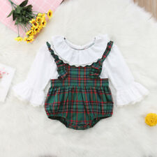 Newborn Baby Girl Plaid Romper Lace Flower Sleeve Ruffle Collar Jumpsuit Outfits