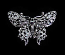 CRYSTAL BUTTERFLY BROOCH PIN SILVER GOLD TONE CLEAR PINK AQUA BLACK PEACH
