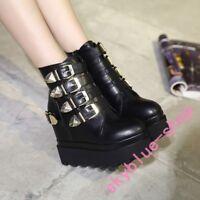 Ladies Black Super High Platform Hidden Wedge Buckle Metal Ankle Boots Punk Goth