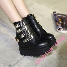Womens Super High Platform Hidden Wedge Buckle Ankle Boots Punk Gothnic Party sz