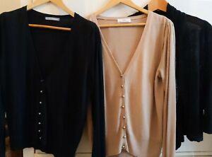 M&S Cardigan Bundle 1 X Camel 2x Black Size 14