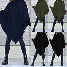 Winter Women Hoodie Poncho Sweatshirt Hooded Asymmetric Pullover Tops Shirt Plus