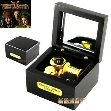 Wooden Black Square Music Box  : Pirates of The Caribbean Davy Jones Soundtrack