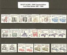 US Scott # 2252 -2266 1987-94 Transportation Coil Pairs