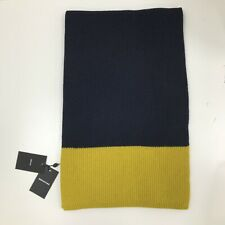 NEW WHISTLES Navy Blue Yellow Ribbed Knit 100% Merino Wool Winter Scarf 141368W