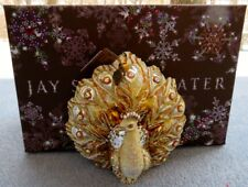 Jay Strongwater Golden Fan-Tailed Peacock Ornament Swarovski Elements New in Box