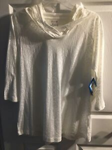 NWT, Columbia Pullover with Hood, size L, White