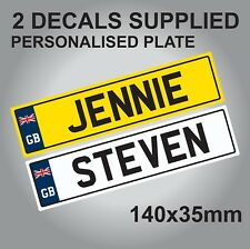 PERSONALISED KIDS RIDE ON NUMBER PLATE SET, CAR TRUCK JEEP 140mm wide CHILDS