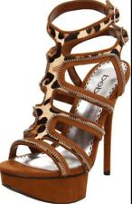 Bebe Woman's Cage Leopard Print High Heel Sandals Size 7 NEW