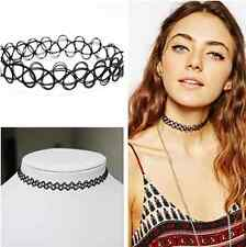 Girl Boho Vintage hippy stretch tattoo choker necklace Elastic chocker Black LXT